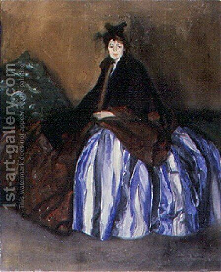 Girl In A Striped Silk Skirt by Alfred Henry Maurer - Reproduction Oil Painting