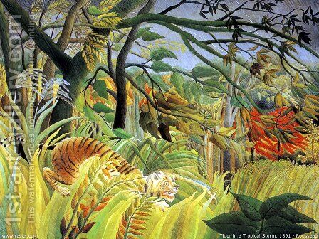 Tiger In A Tropical Storm   Surprised by Henri Julien Rousseau - Reproduction Oil Painting