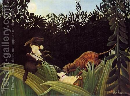 Scout Attacked By A Tiger by Henri Julien Rousseau - Reproduction Oil Painting