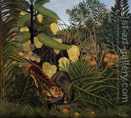 Fight Between A Tiger And A Buffalo by Henri Julien Rousseau - Reproduction Oil Painting