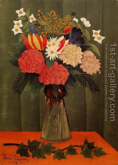 Bouquet Of Flowers With An Ivy Branch by Henri Julien Rousseau - Reproduction Oil Painting