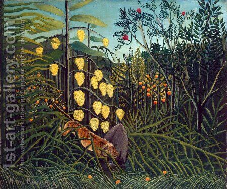 Combat Of A Tiger And A Buffalo by Henri Julien Rousseau - Reproduction Oil Painting