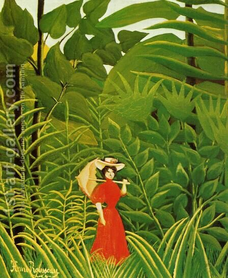 Woman With An Umbrella In An Exotic Forest by Henri Julien Rousseau - Reproduction Oil Painting