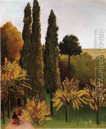 Walking In The Parc Des Buttes Chaumont by Henri Julien Rousseau - Reproduction Oil Painting