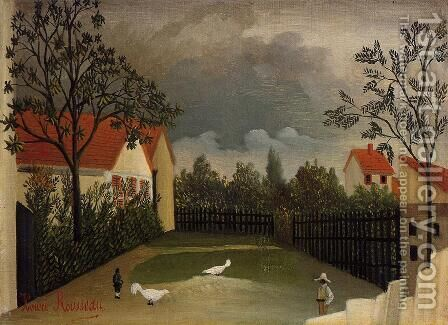The Poultry Yard by Henri Julien Rousseau - Reproduction Oil Painting