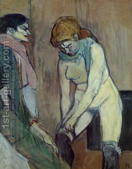 Woman Pulling Up Her Stocking by Toulouse-Lautrec - Reproduction Oil Painting