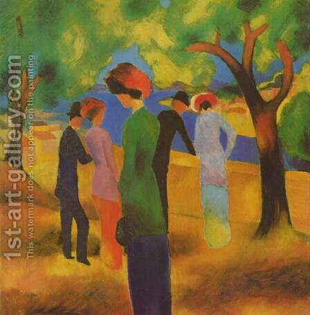 A Woman In Green Jacket by August Macke - Reproduction Oil Painting