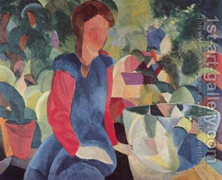Girl With Fish Bell by August Macke - Reproduction Oil Painting