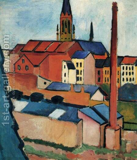 Houses With A Chimney by August Macke - Reproduction Oil Painting