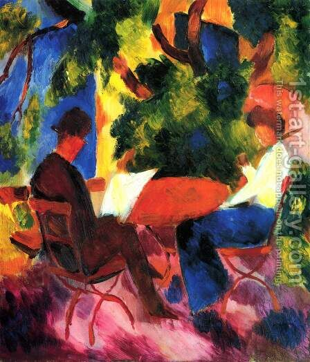 Couple At The Garden Table by August Macke - Reproduction Oil Painting