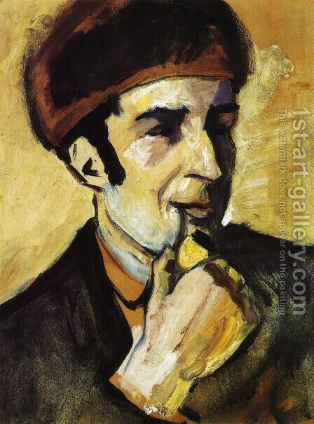 Portrait of Franz Marc (Bildnis Franz Marc)  1910 by August Macke - Reproduction Oil Painting