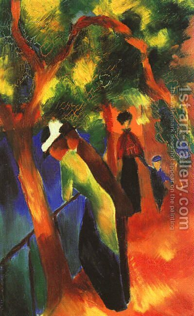 Sunlight Walk (Sonniger Weg)  1913 by August Macke - Reproduction Oil Painting