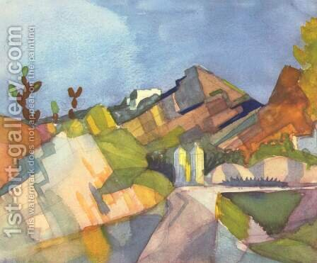 Rocky Landscape by August Macke - Reproduction Oil Painting