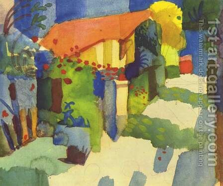 House In The Garden by August Macke - Reproduction Oil Painting