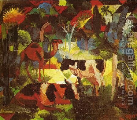 Landscape With Cows And Camel by August Macke - Reproduction Oil Painting