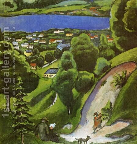Tegernsee Landscape by August Macke - Reproduction Oil Painting
