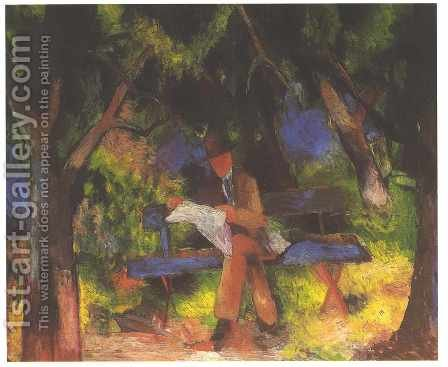 Man Reading in a Park (Lesender Mann im Park)  1914 by August Macke - Reproduction Oil Painting