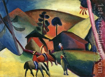 Indians On Horseback by August Macke - Reproduction Oil Painting