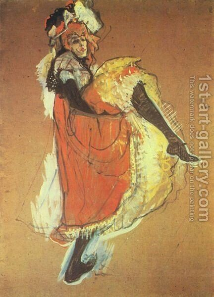 Jame Avril Dancing   Study by Toulouse-Lautrec - Reproduction Oil Painting