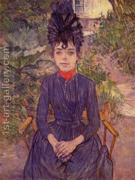 Portrait Of Justine Dieuhl In The Garden by Toulouse-Lautrec - Reproduction Oil Painting