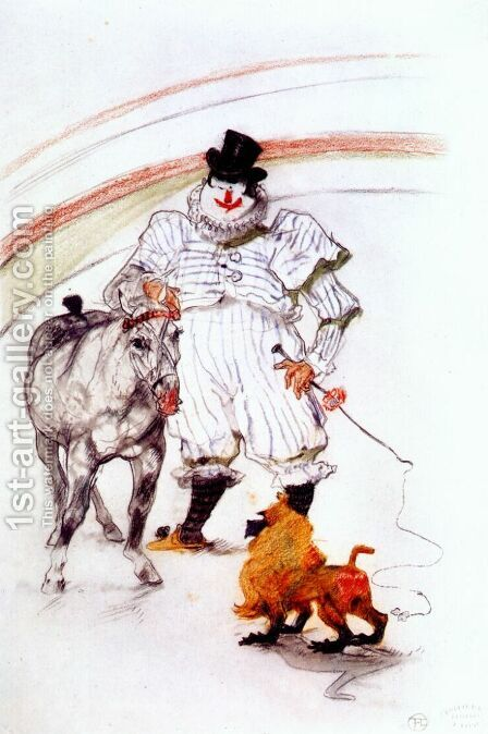 At The Circus Horse And Monkey Dressage by Toulouse-Lautrec - Reproduction Oil Painting