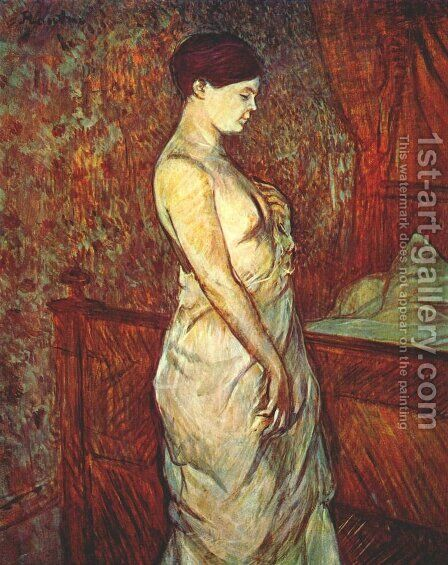 Mme Poupoule In Chemise By Her Bed by Toulouse-Lautrec - Reproduction Oil Painting
