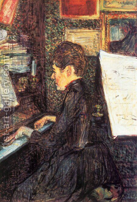 Mlle Marie Dihau At The Piano by Toulouse-Lautrec - Reproduction Oil Painting
