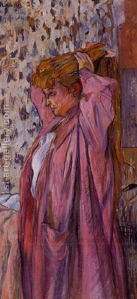 The Madame Redoing Her Bun by Toulouse-Lautrec - Reproduction Oil Painting
