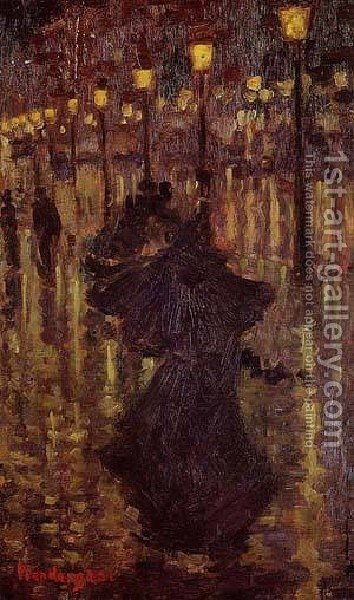 Evening Shower Paris by Toulouse-Lautrec - Reproduction Oil Painting