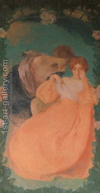 Confiding Secrets by Edmond-Francois Aman-Jean - Reproduction Oil Painting