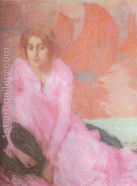 Dame En Rose by Edmond-Francois Aman-Jean - Reproduction Oil Painting