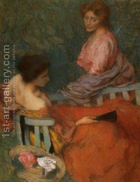 Les Confidences by Edmond-Francois Aman-Jean - Reproduction Oil Painting