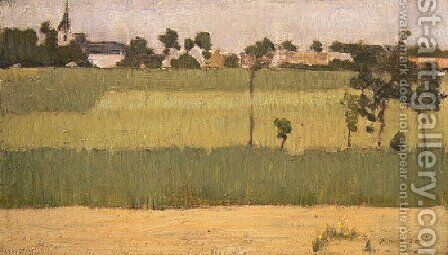 The Outskirts Of A Village by Edmond-Francois Aman-Jean - Reproduction Oil Painting