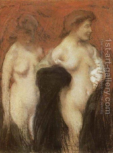 Two Nudes by Edmond-Francois Aman-Jean - Reproduction Oil Painting