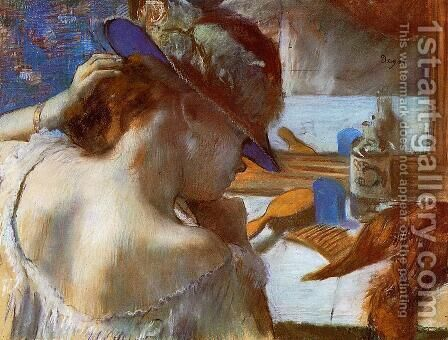 At The Mirror by Edgar Degas - Reproduction Oil Painting