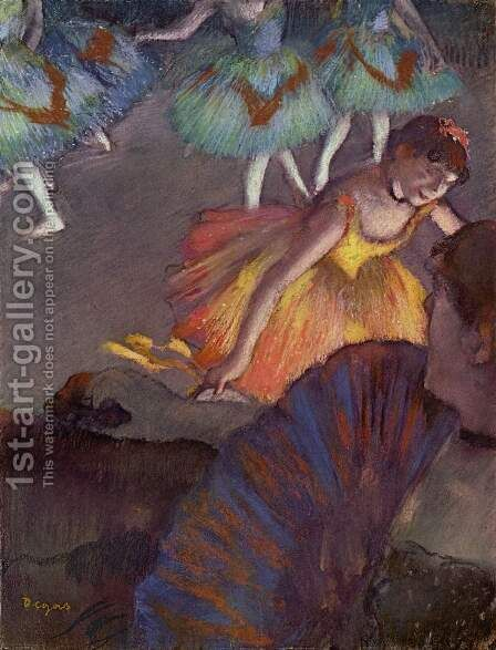 Ballerina And Lady With A Fan by Edgar Degas - Reproduction Oil Painting