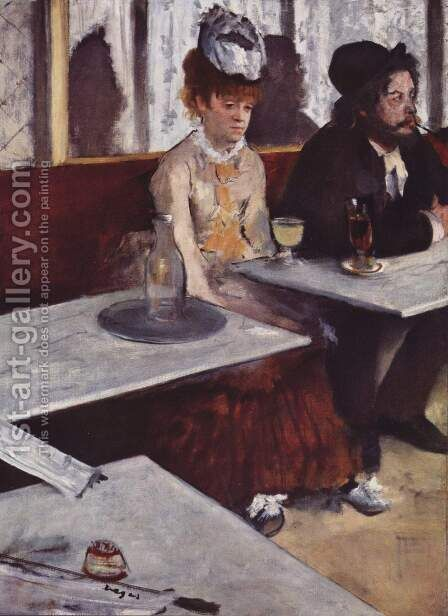 In a Cafe (The Absinthe Drinker) 1875-76 by Edgar Degas - Reproduction Oil Painting