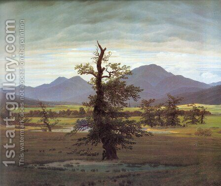 Landscape With Solitary Tree by Caspar David Friedrich - Reproduction Oil Painting