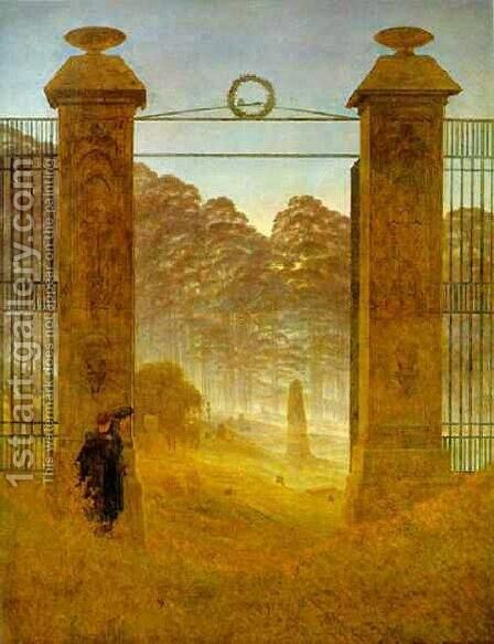 Cemetery At Dusk by Caspar David Friedrich - Reproduction Oil Painting