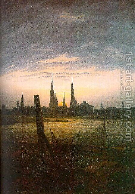 City at Moonrise 1817 by Caspar David Friedrich - Reproduction Oil Painting