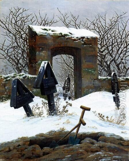 Graveyard under Snow 1826 by Caspar David Friedrich - Reproduction Oil Painting