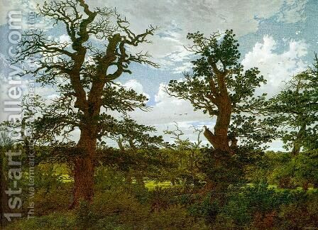 Landscape with Oak Trees & a Hunter 1811 by Caspar David Friedrich - Reproduction Oil Painting