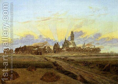 Neubrandenburg in Flames (Sunrise near Neubrandenburg) c. 1835 by Caspar David Friedrich - Reproduction Oil Painting