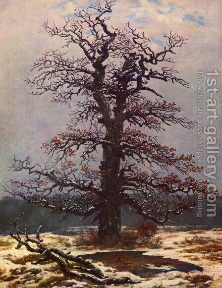 Oak in the Snow 1820s by Caspar David Friedrich - Reproduction Oil Painting