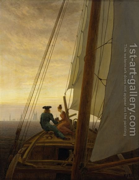 On the Sailing Boat c. 1819 by Caspar David Friedrich - Reproduction Oil Painting