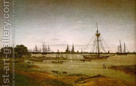 Port by Moonlight 1811 by Caspar David Friedrich - Reproduction Oil Painting