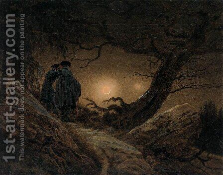 Two Men Contemplating the Moon 1819-20 by Caspar David Friedrich - Reproduction Oil Painting