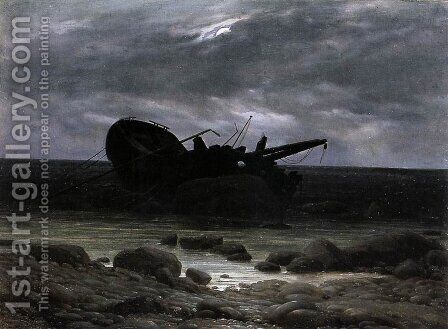 Wreck in the Moonlight c. 1835 by Caspar David Friedrich - Reproduction Oil Painting
