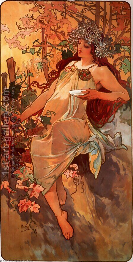 Autumn by Alphonse Maria Mucha - Reproduction Oil Painting