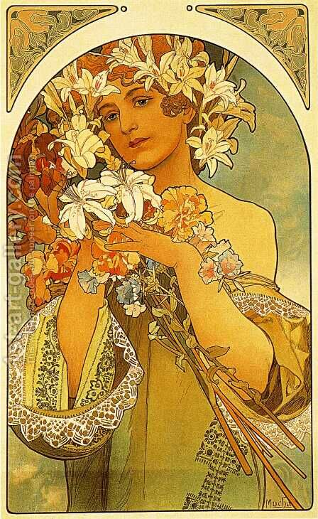 Flower by Alphonse Maria Mucha - Reproduction Oil Painting